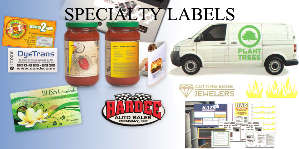 Specialty product and equipment labels and decals