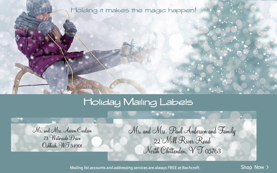 Bachcroft Christmas Holiday Mailing Labels