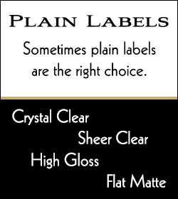 Buy plain labels in Crystal Clear, Sheer Clear, High Gloss, and Flat Matte with FREE return address and mailing list printing at Bachcroft Labels.