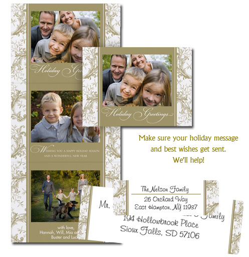picture-perfect holiday cards and matching addressing labels