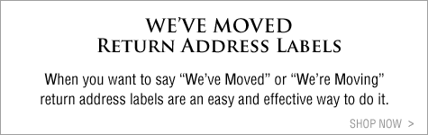 we're moving, we've moved return address labels