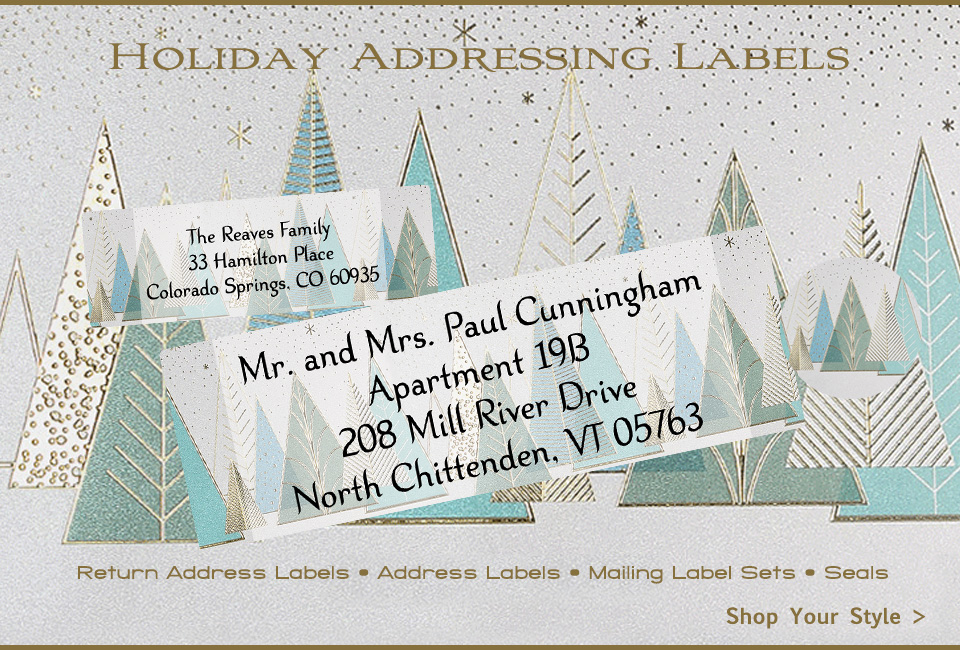 Fancy 2020 Christmas Holiday Return Address Labels and Recipient Address Labels