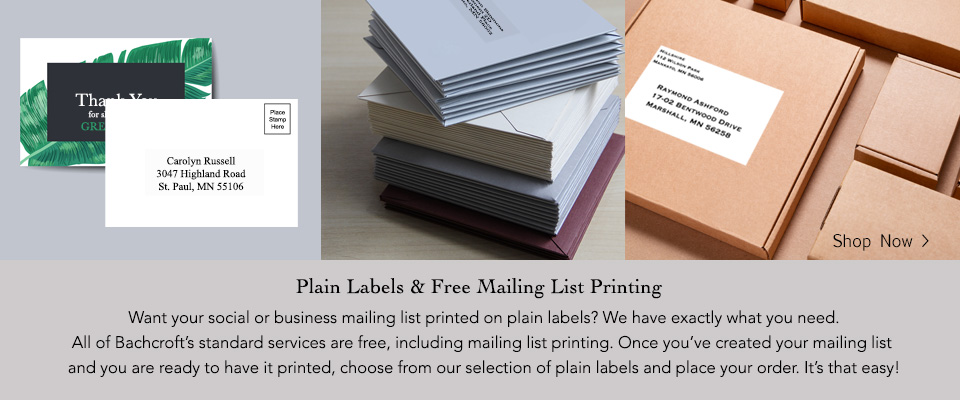 White and clear plain labels for postcards, envelopes, and packages.