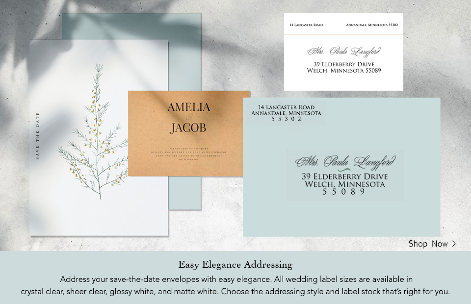 Save-the-date wedding labels.