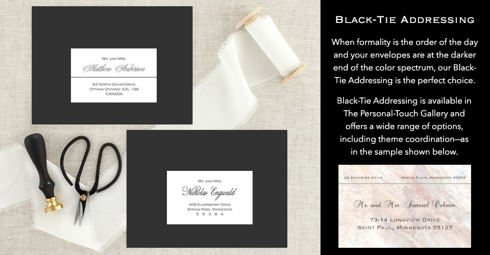 Formal black-tie wedding envelope addressing.
