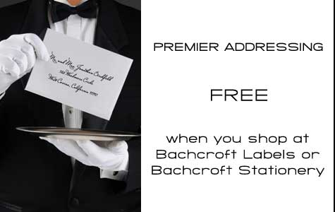 Free return address printing and recipient addressing for envelopes at Bachcroft.