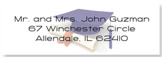 Commencement Clear Address Labels, with cap and scroll