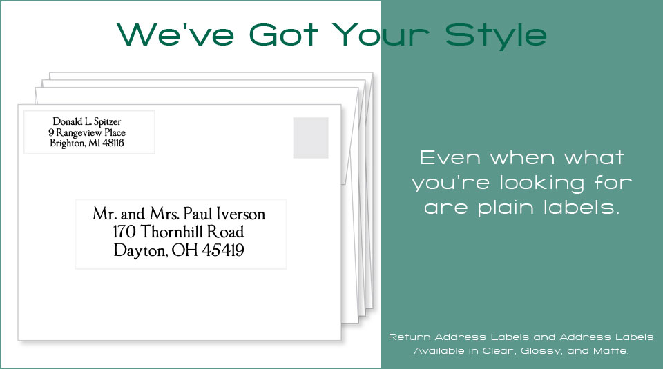 Plain family clear and white return address labels and address labels.