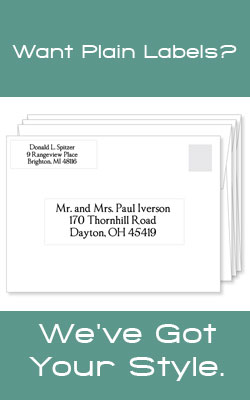 Plain return address labels and address labels for mailing - clear, white, brown kraft